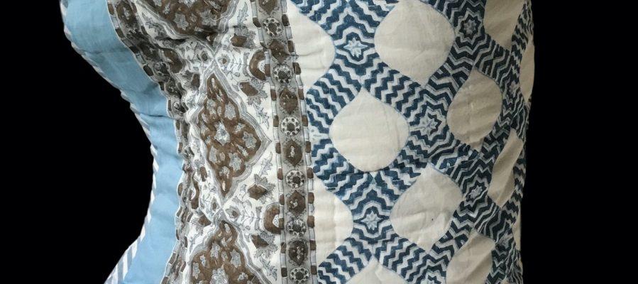 Double reversible bedspread by Block & Dye - Blue
