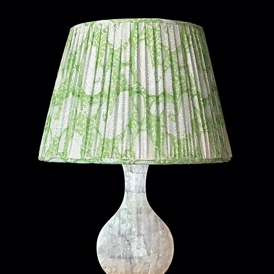 Lampshade blockprint green