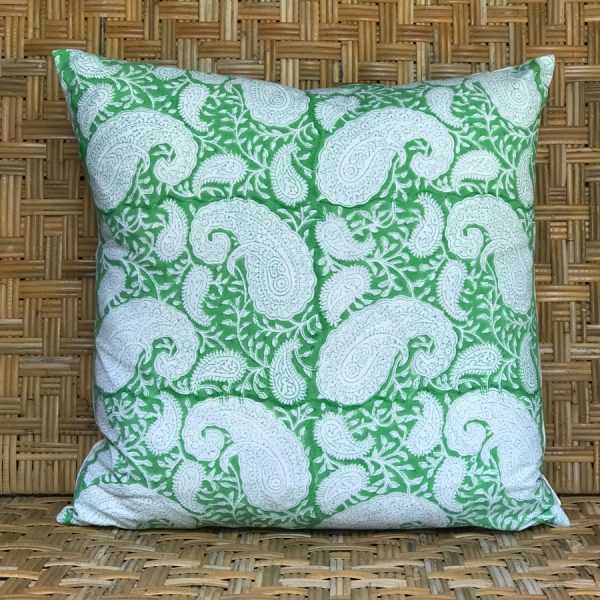 Green square blockprint paisley cushion Block & Dye