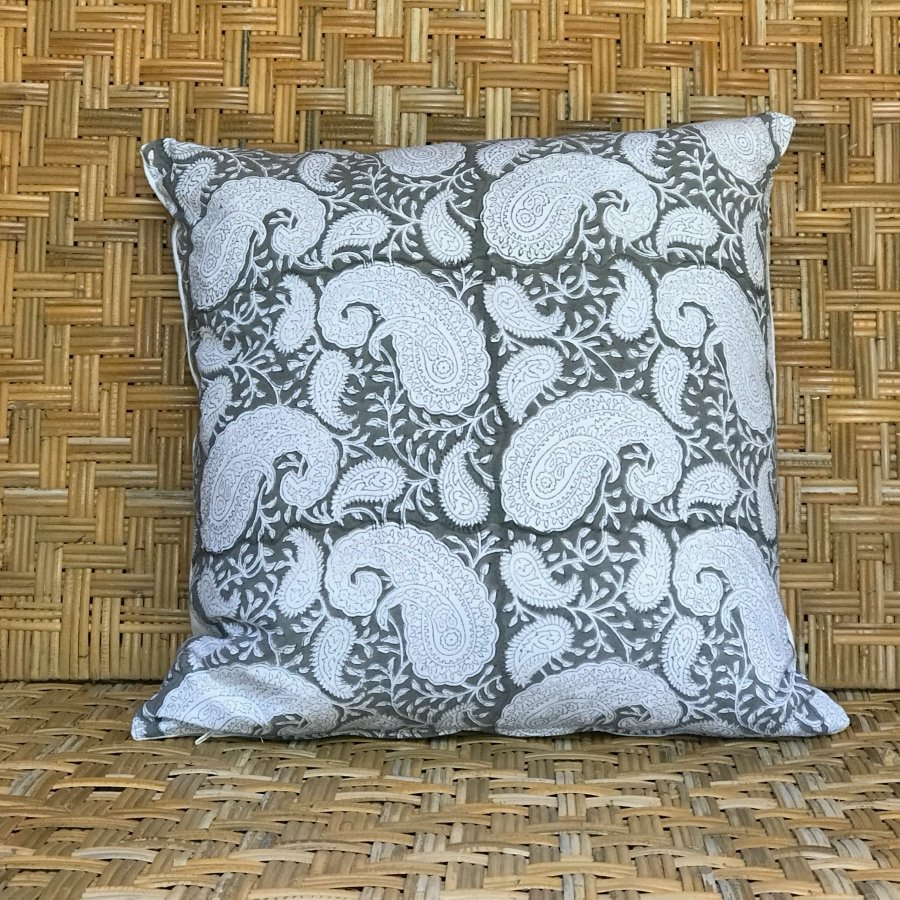 Grey square blockprint paisley cushion Block & Dye
