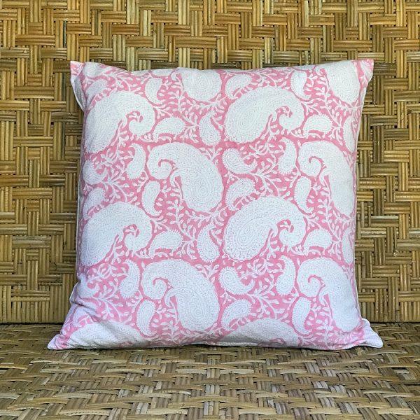 Pink square blockprint paisley cushion Block & Dye