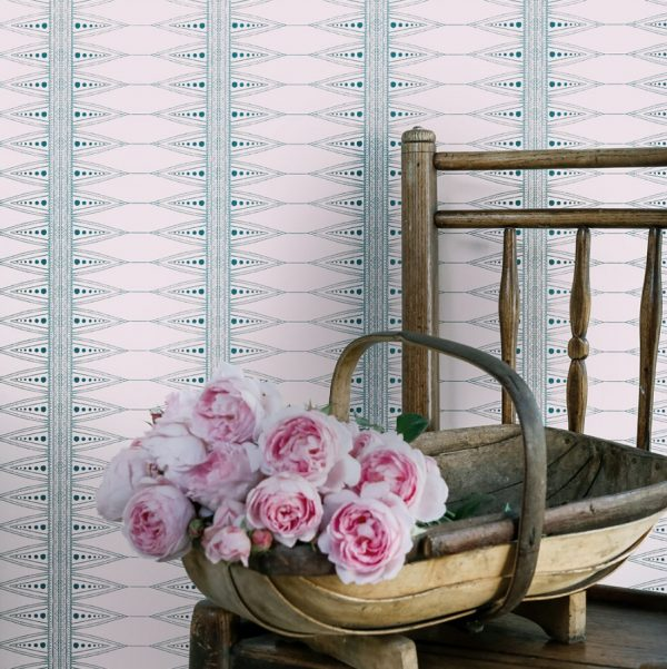 Indian Stripe wallpaper by Barneby Gates - pink.teal