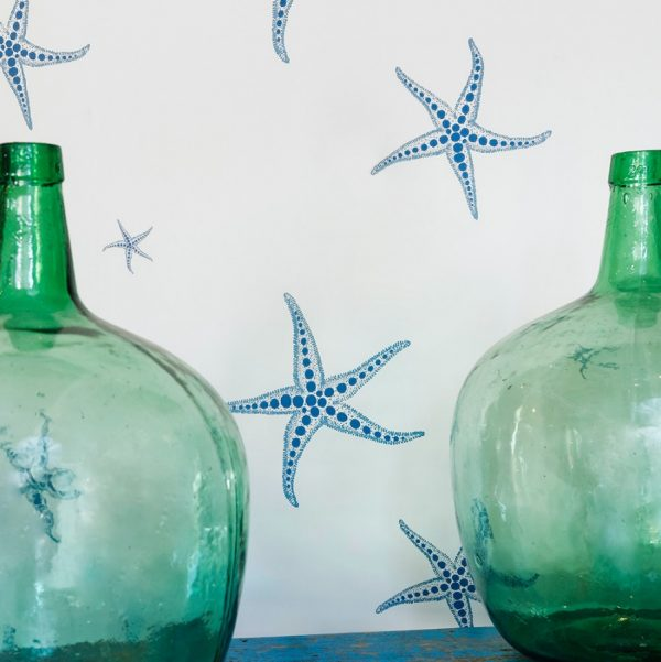 Starfish wallpaper by Barneby Gates - Blue on Parchment
