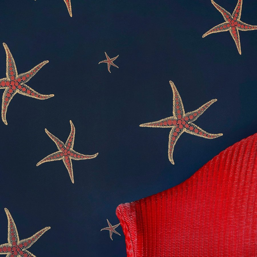 Starfish wallpaper by Barneby Gates -Navy/Sienna