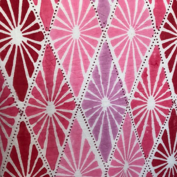 Reversible pink blockprint bedspread