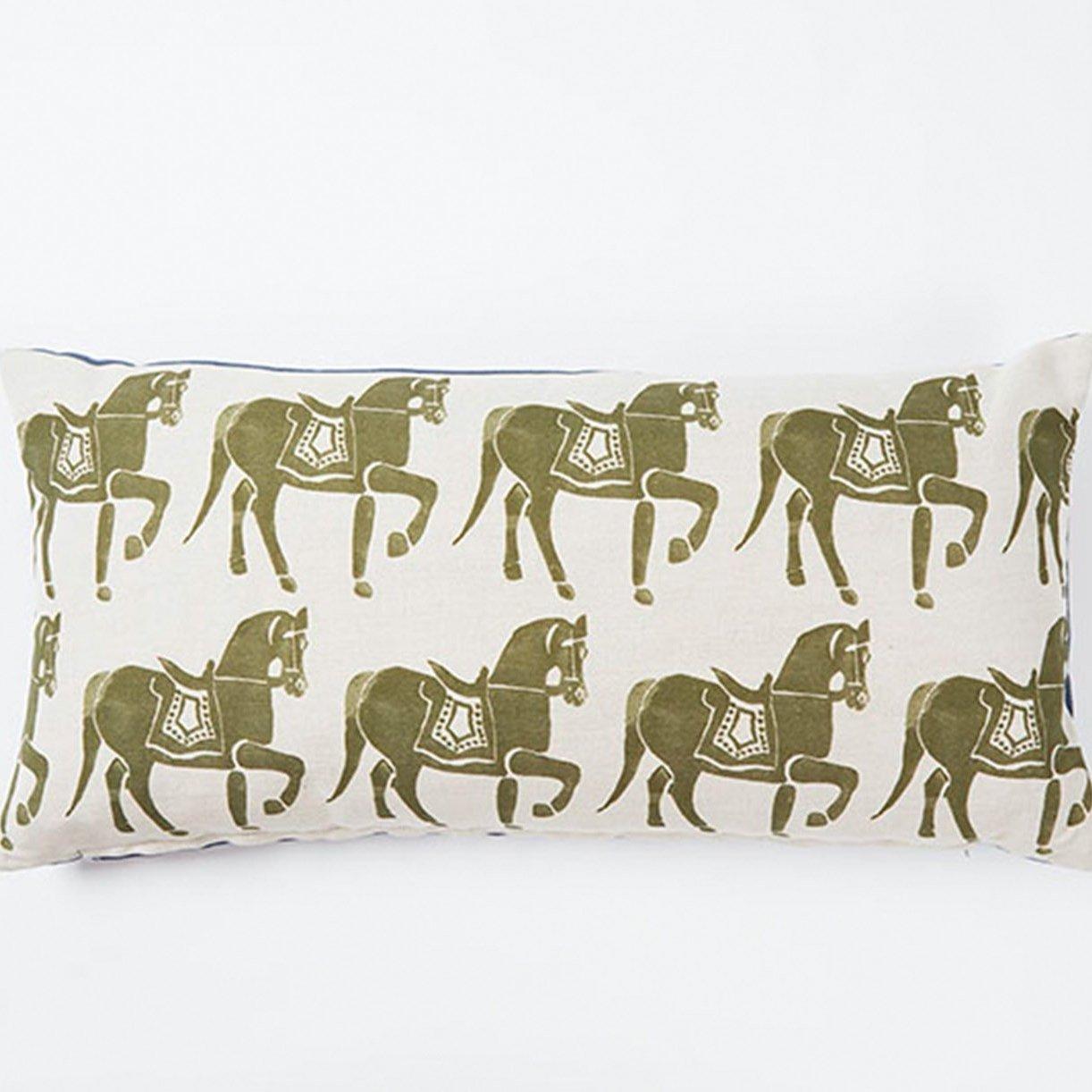 Molly Mahon olive green horse rectangle cushion