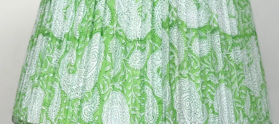 Apple green block print lampshade